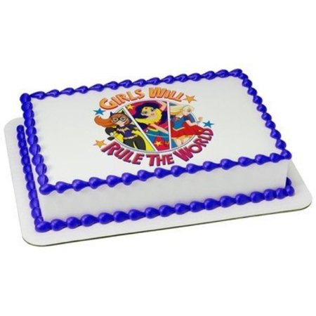 Super Hero SuperGirls Rule Edible Picture Cake - Supergirl Decorations