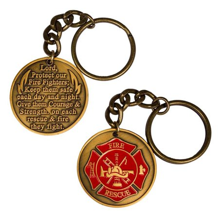 Cross Keychain (Firefighter / Fireman Prayer Keychain with Gold Maltese)