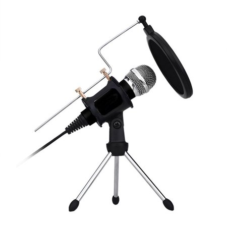 AMZER Sound Recording Condenser Microphone with Tripod Holder, Compatible  with iOS and Android Phones / PC for Live Broadcast Show, KTV, etc (Black)