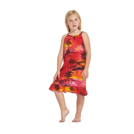 Girl Round Neck Tunic Hawaiian Luau Dress in Red Sunset Size 2