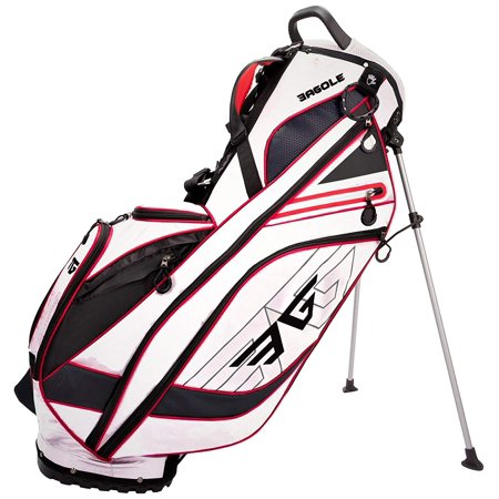 Eagole Super Light 4.3 Lbs, Golf Stand Bag with 8 Pockets (one Cooler Pouch) (WHITE) (Golf Bag With Built In Cooler)