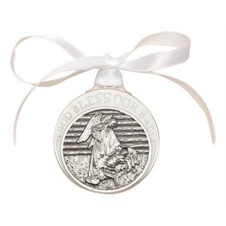 White Guardian Angel over Baby in Manger Crib Medal in Pewter
