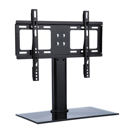 HERCHR Universal TV Stand - Table Top TV Stands for 26-32 Inch LCD LED TVs, 4 Height Adjustable TV Base Stand with Tempered Glass Base & Anti-tip Strap Strap Base Mount Ram