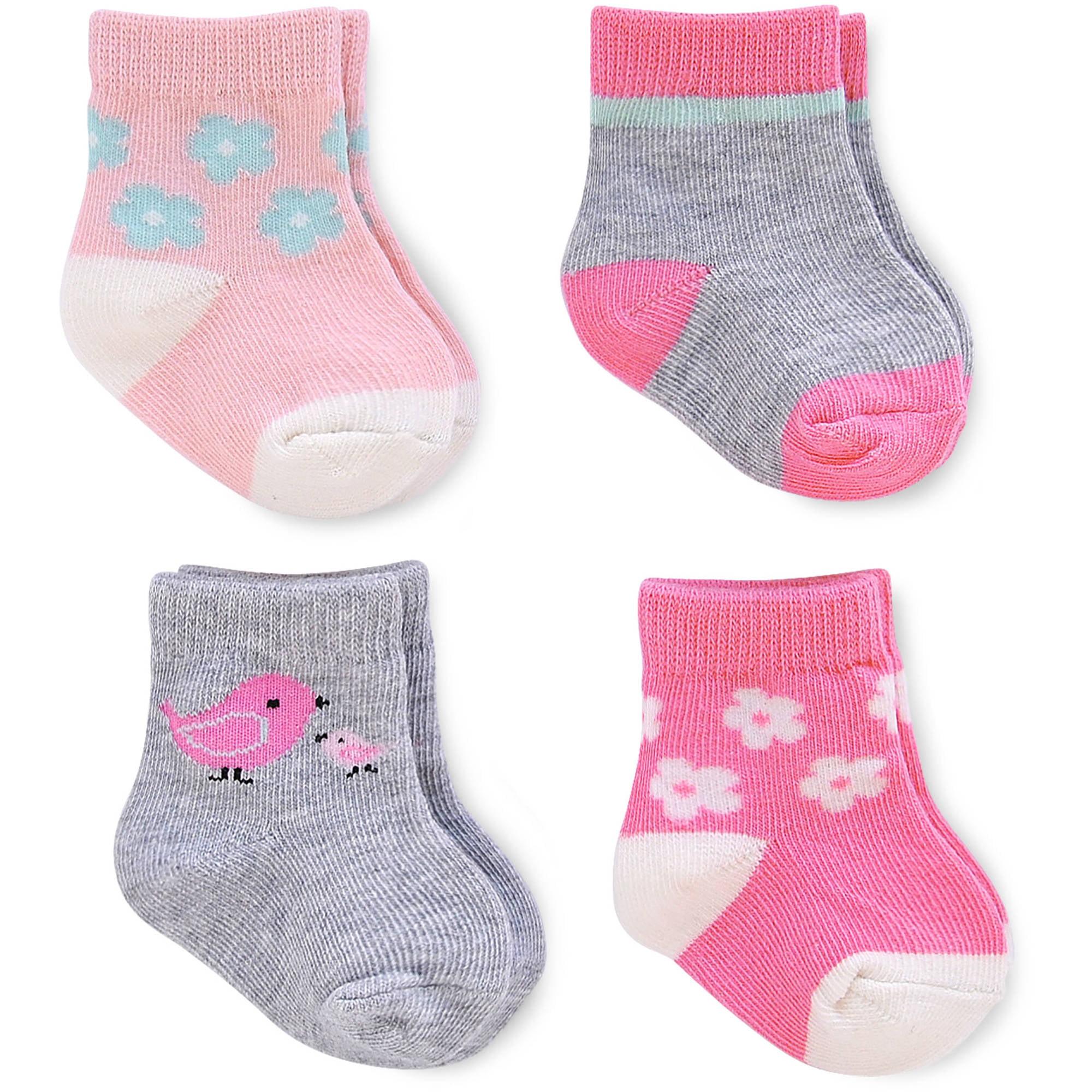 4 Pack Child of Mine Newborn Baby Girl Socks
