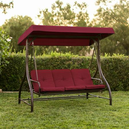 Converting Outdoor Swing Canopy Hammock Seats 3 Patio Deck Furniture  Burgundy - Converting Outdoor Swing Canopy Hammock Seats 3 Patio Deck