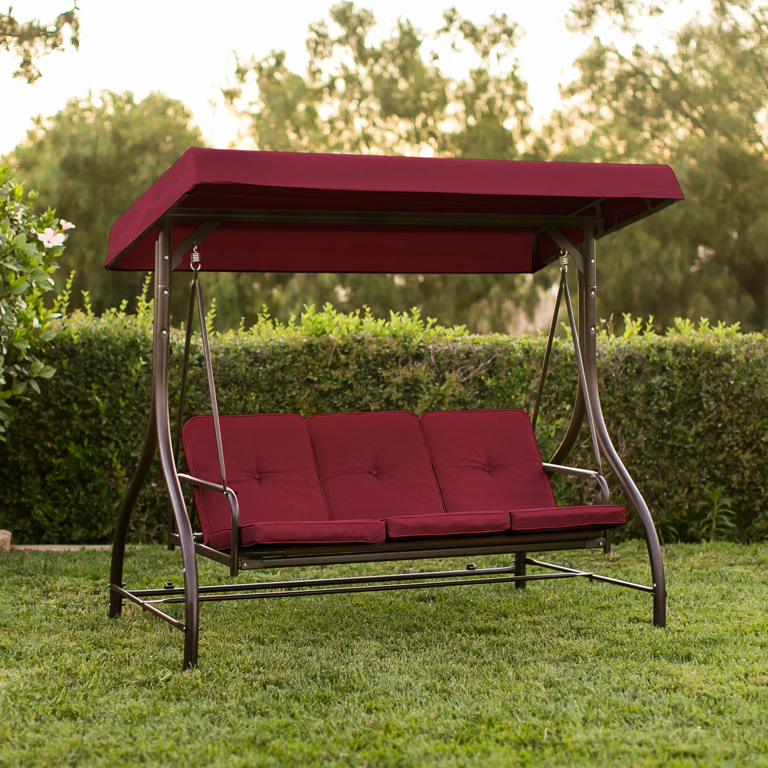 Converting Outdoor Swing Canopy Hammock Seats 3 Patio Deck Furniture  Burgundy Image 2 Of 6