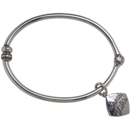 Stainless-Steel Celebrate Life Starter Bangle