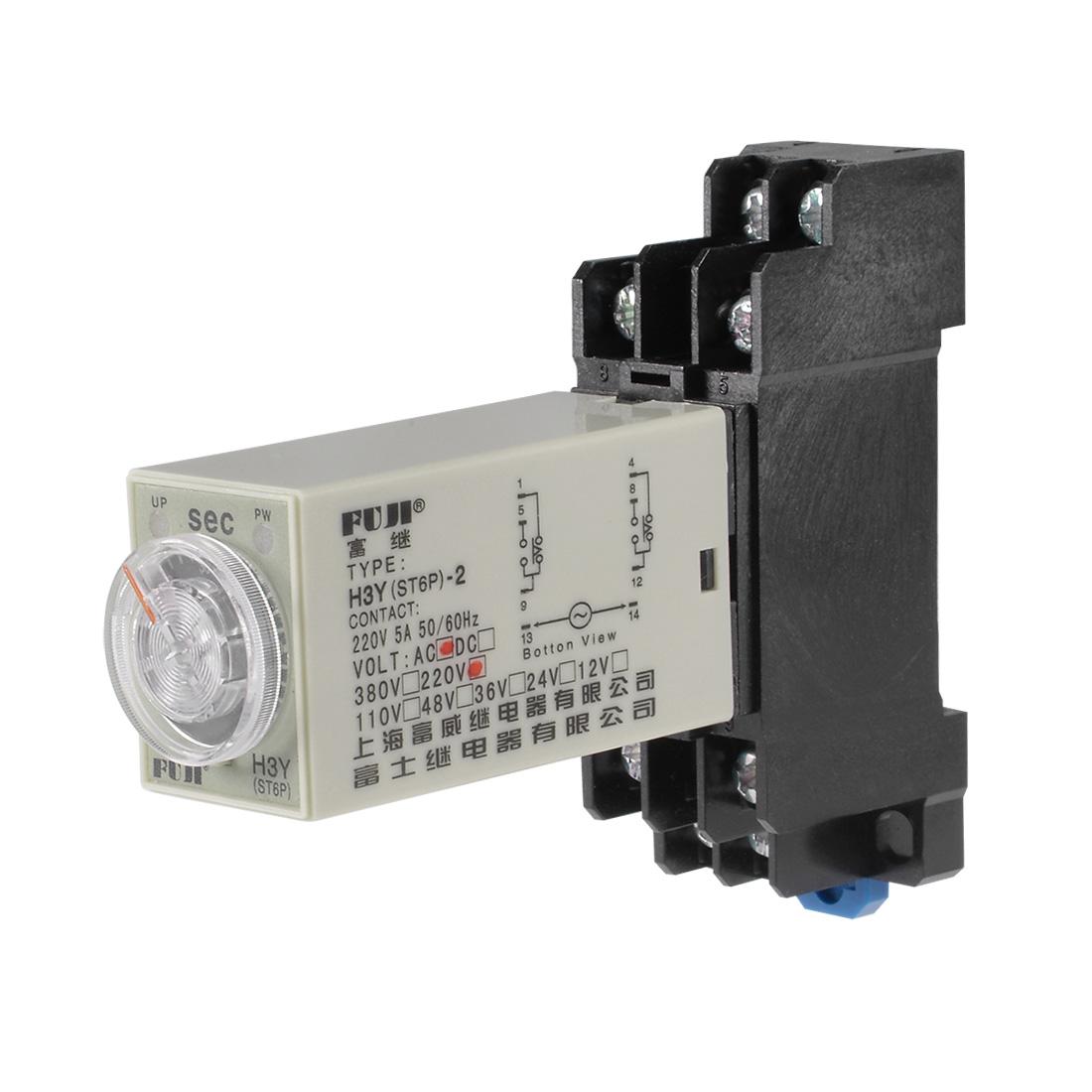 220VAC 60S 8 Terminals Range Adjustable Delay Timer Time Relay H3Y-2 w base - image 6 of 6