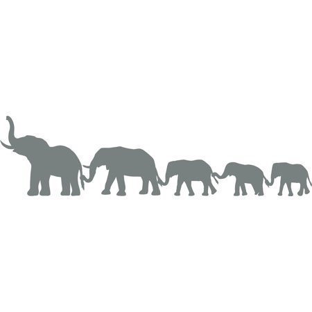 Elephant Family Animal Line Border Mother Father Kids Silhouette Custom Wall Decal Vinyl Sticker Art 8 Inches X 40 Inches Kids Border Sticker