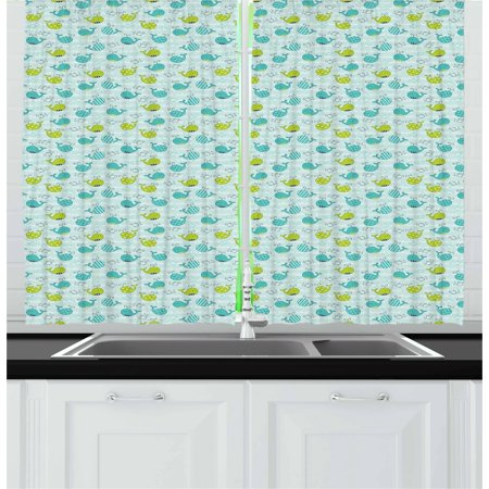 Whale Curtains 2 Panels Set, Animals of the Seas in Many Designs Polka Dots and Stripes, Window Drapes for Living Room Bedroom, 55W X 39L Inches, Lime Green Turquoise Pale Sea Green, by Ambesonne ()
