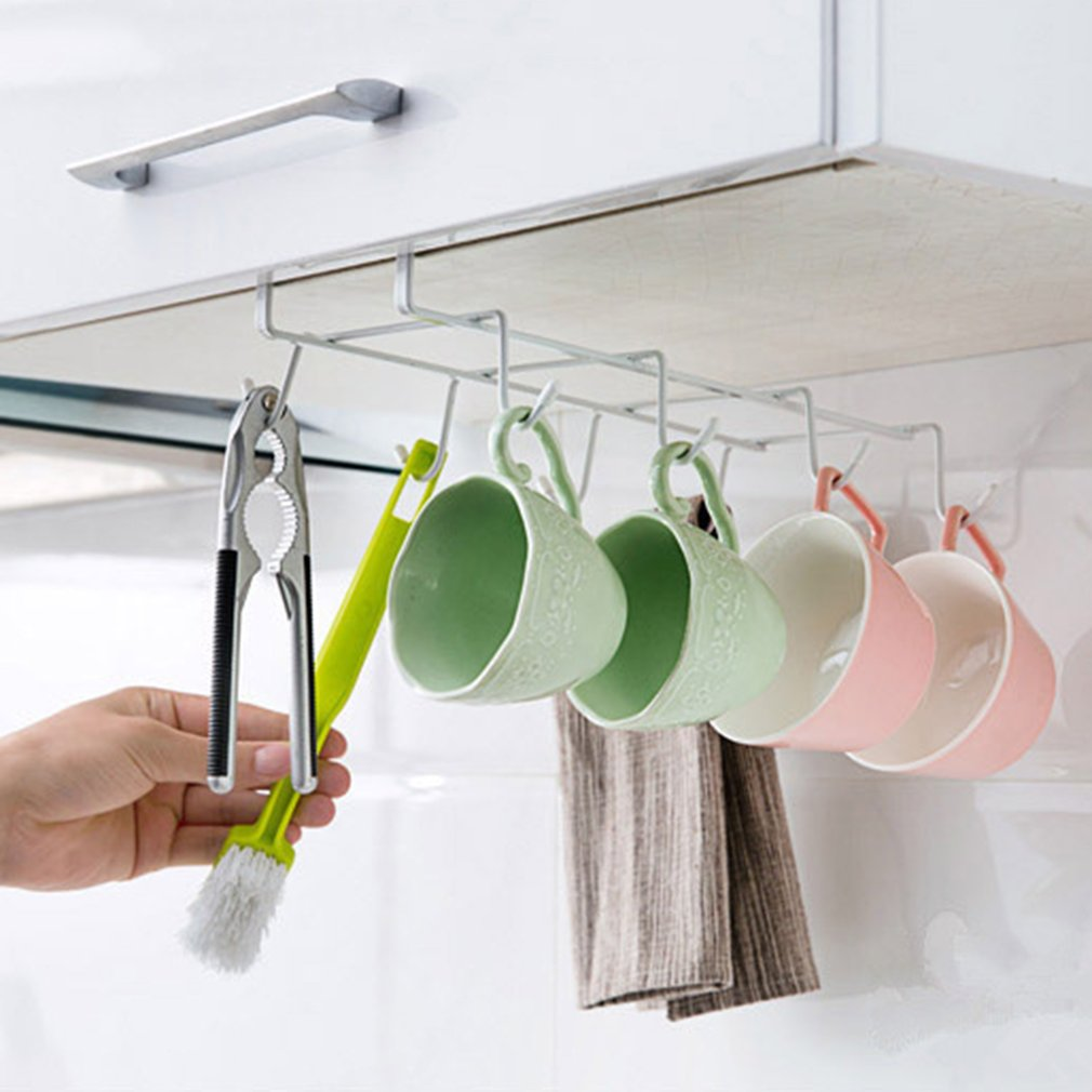 Delicieux 8 Hook Mug Holder Under Shelf Mug Hooks Mug Rack Hanger Coffee Cup Holder  Drying Rack