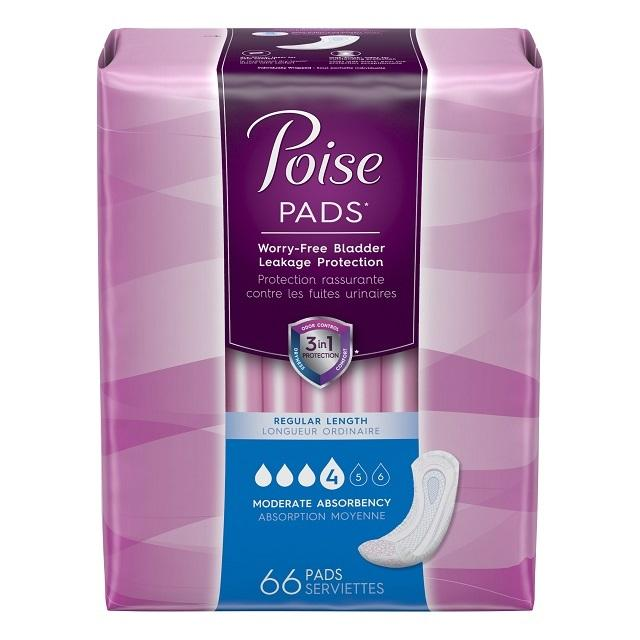 Poise Pads Moderate Absorbency Regular 66 ct, 2ct 10036000473572G2620