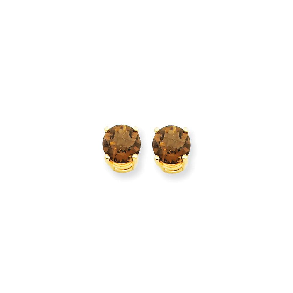 14k Yellow Gold 6mm Round Smokey Quartz Earrings. Gem Wt- 1.5ct