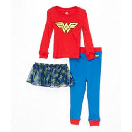 DC Comics Infant Baby Girls Toddler 'Wonder Woman Costume' Cotton Pajama with Tutu Set - Wonder Woman With Tutu