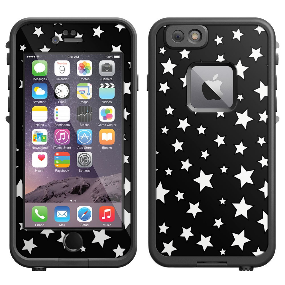 SKIN DECAL FOR LifeProof iPhone 6 Case - Silver Stars on Black DECAL, NOT A CASE