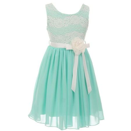 Little Girls Elegant Round Neck Chiffon Summer Wedding Birthday Party Flower Girl Dress Mint 4 (2J1K38S)
