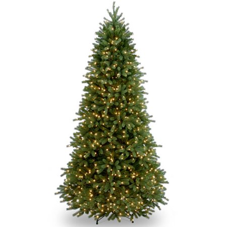National Tree Pre-Lit 7-1/2 Feel-Real Jersey Fraser Slim Fir Hinged Artificial Christmas Tree with 800 Clear Lights
