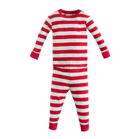 Organic Cotton Baby Long Johns - Red Rugby Stripe 6m