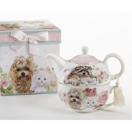 Delton Products Porcelain Tea for One with Decorative Gift Box, Cats and (Porcelain Cat)