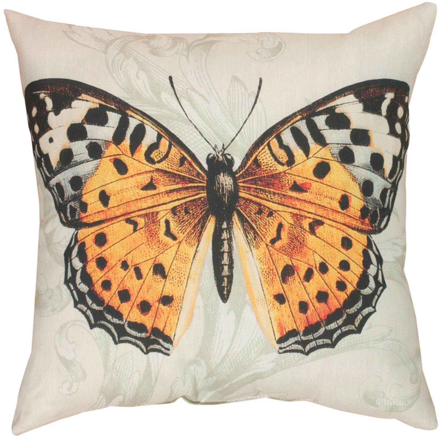 """20"""" Outdoor Deck and Patio I'll Fly Away Butterfly Square Throw Pillow"""