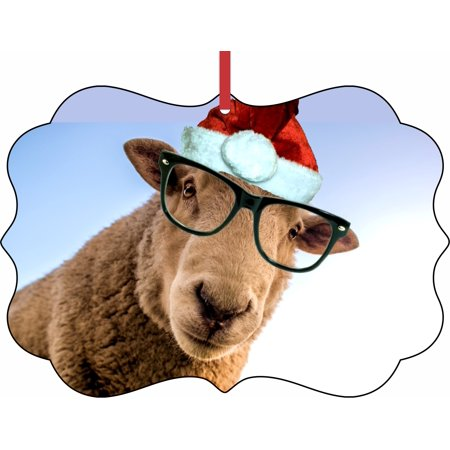 Ornament Funny Hipster Sheep in Santa Hat Elegant Aluminum SemiGloss Christmas Ornament Tree Decoration - Unique Modern Novelty Tree Décor - Funny Christmas Hat