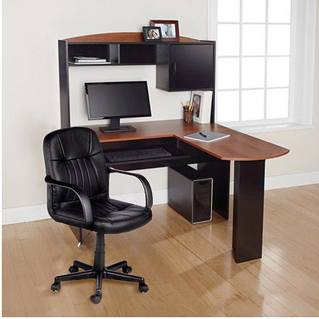 Mainstays L-Shaped Desk with Hutch and Leather Mid-Back Chair Value Bundle