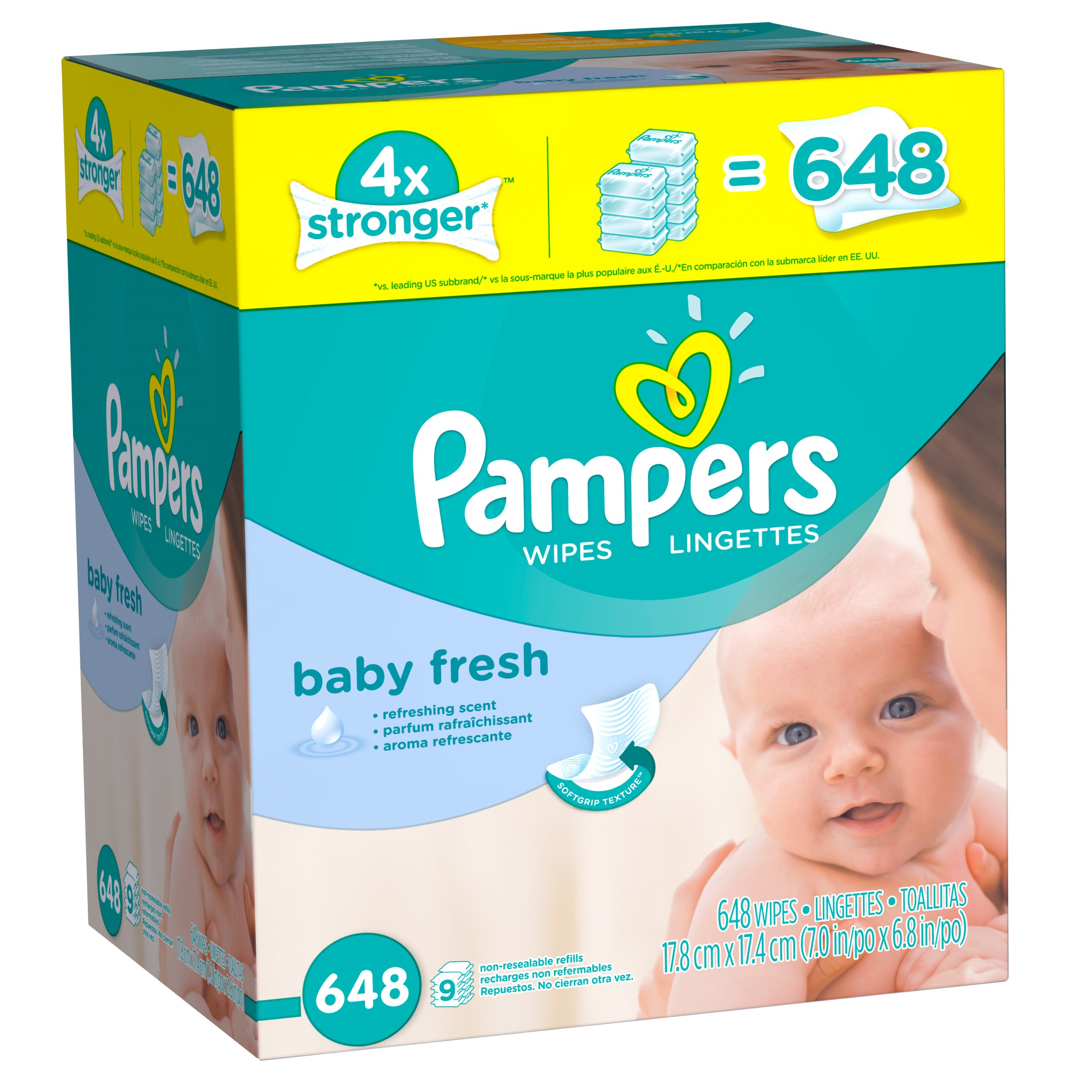 Pampers Baby Fresh Baby Wipes, Refill Pack, Scented, 648 Ct by Pampers