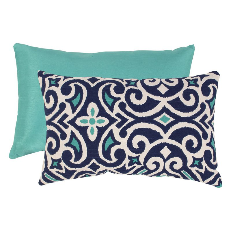 Pillow Perfect Blue and White Damask Rectangular Throw Pillow