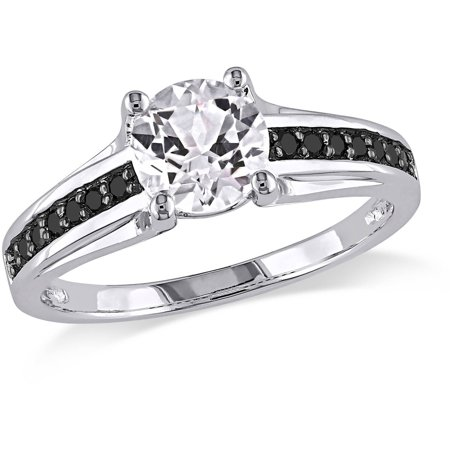 1 3 8 Carat T G W  Created White Sapphire And 1 7 Carat T W  Black Diamond Sterling Silver Ring