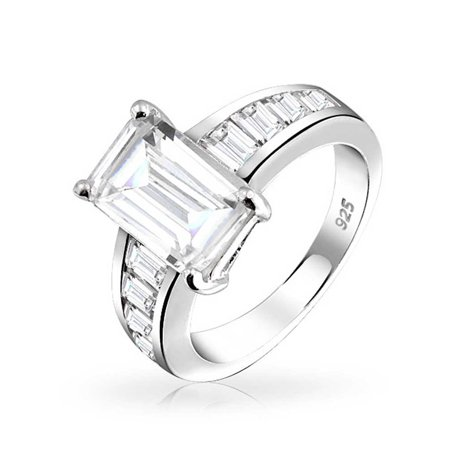 Art Deco Style 4CT Square Asscher Cut AAA CZ Side Baguette Band Solitaire Engagement Ring 925 Sterling Silver For (Asscher Vs2 Ring)