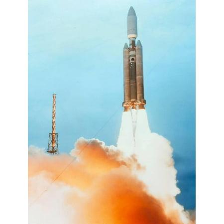 Launch of a Titan IV Rocket Print Wall Art By Lockheed Martin (Silhouette Titan Minimal Art)