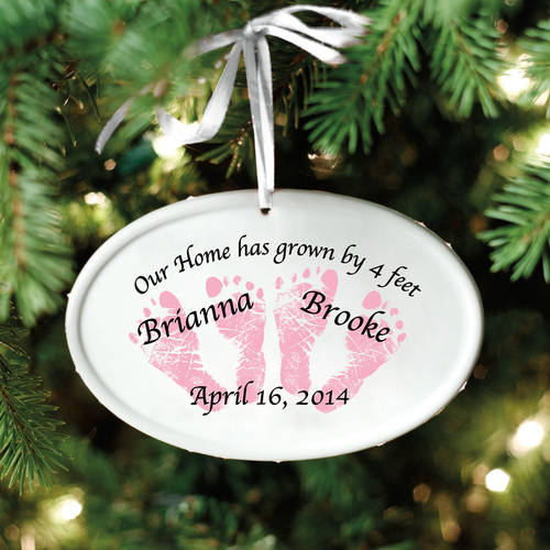 Personalized Baby Feet Ceramic Oval Ornament, Available in 5 Designs