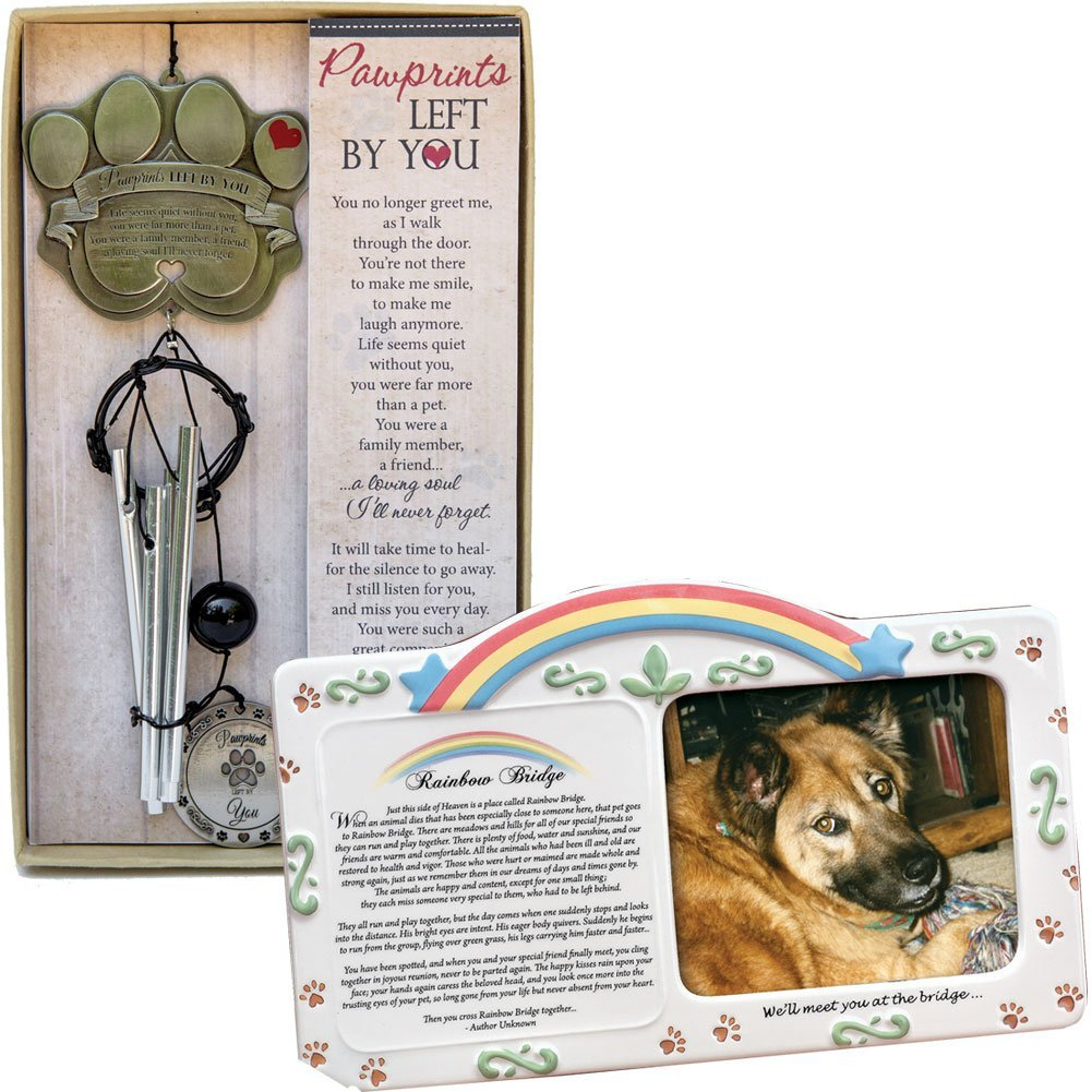 (Set) Rainbow Bridge Pet Memorial Frame & Pawprints Left You Wind Chime, From US,Brand Vollrath by