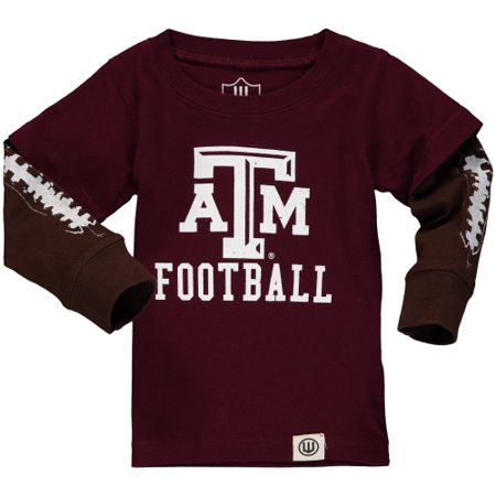 Texas A&M Aggies Wes & Willy Toddler Football Fooler Long Sleeve T-Shirt - Maroon - (Wes And Willy Boys Clothing)
