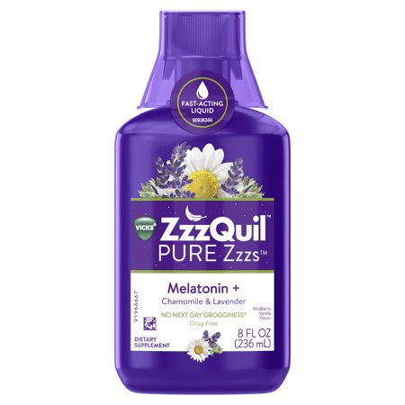 Vicks ZzzQuil PURE Zzzs Melatonin Liquid Sleep-Aid with Chamomile, Lavender, Valerian Root and Lemon Balm, 1mg per serving,