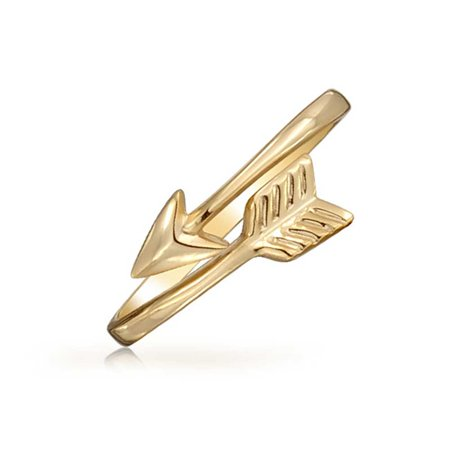 Minimalist Simple Midi Knuckle Thin 1MM Band Stackable Cupids Arrow Ring For Teen 14K Gold Plated 925 Sterling Silver