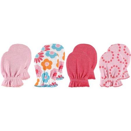 Newborn Baby Girls' Scratch Mitten 4-Pack, 0-6 months, Choose Your Color