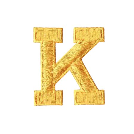 alphabet letter k color yellow 2 block style iron on embroidered