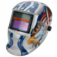HDKLT-107 Upgraded Solar Powered Auto Darkening Welding Helmet with Baffles Glede Pattern Silver & B