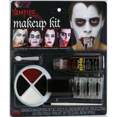 Fun World Halloween Undead Vampire Family 8pc Makeup Kit, - Black And White Makeup For Halloween