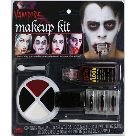 Fun World Halloween Undead Vampire Family 8pc Makeup Kit, White - Red And White Halloween Faces