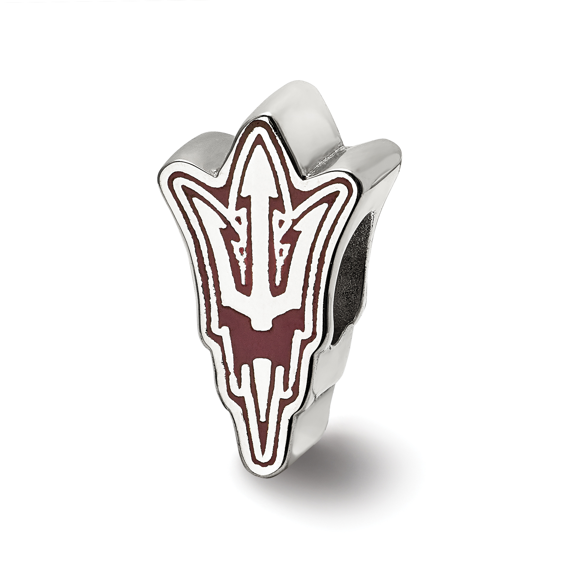Sterling Silver LogoArt Official Licensed Collegiate Arizona State University (ASU) Pitchfork Enameled Logo Bead