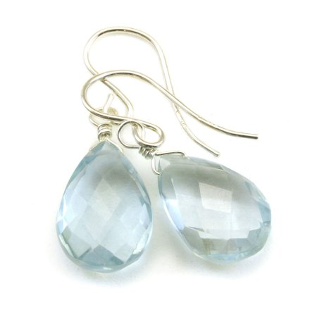 Blue Simulated Aquamarine Earrings Faceted Pear Shape Teardrop Drops Sterling Silver
