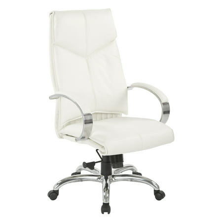 Office Star Deluxe Mid Back Leather Office Chair, White
