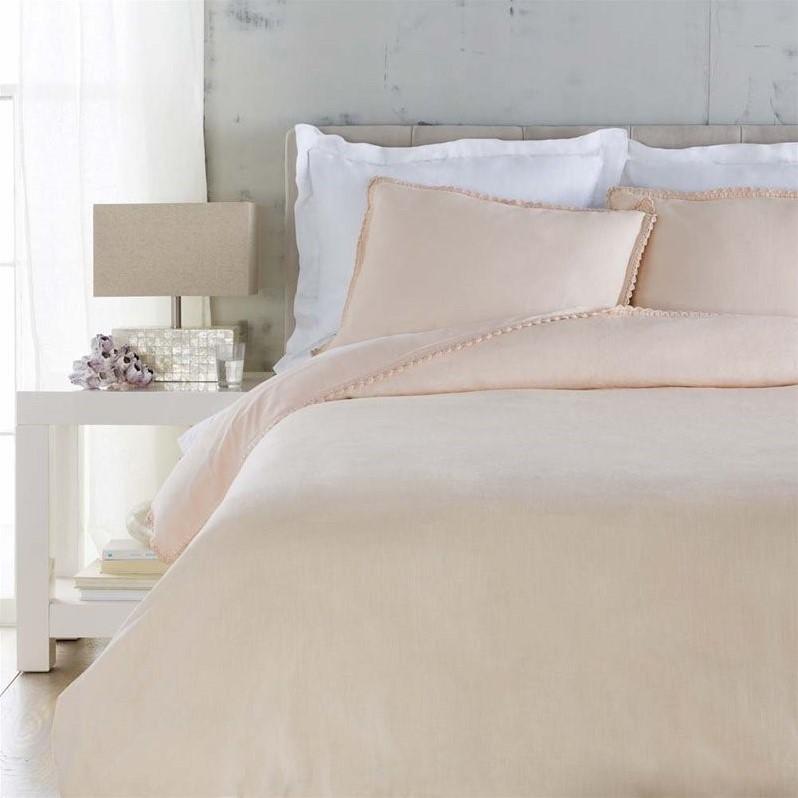 Surya Evelyn Woven Linen Twin Duvet Set in Pink