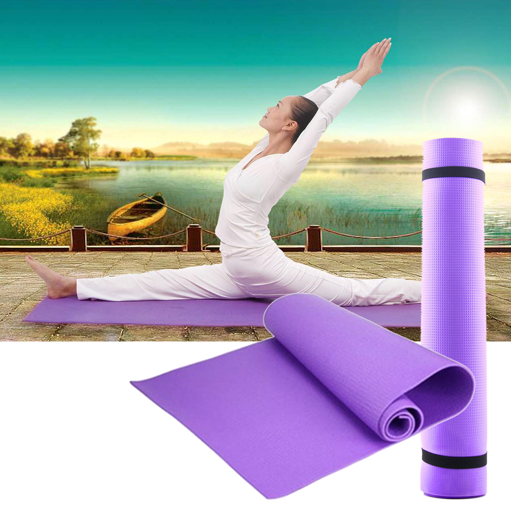 New  Exercise Mat 6Mm Thick Non-Slip Yoga Mat Exercise Fitness Lose Weight 68X24X0.24Inch Purple