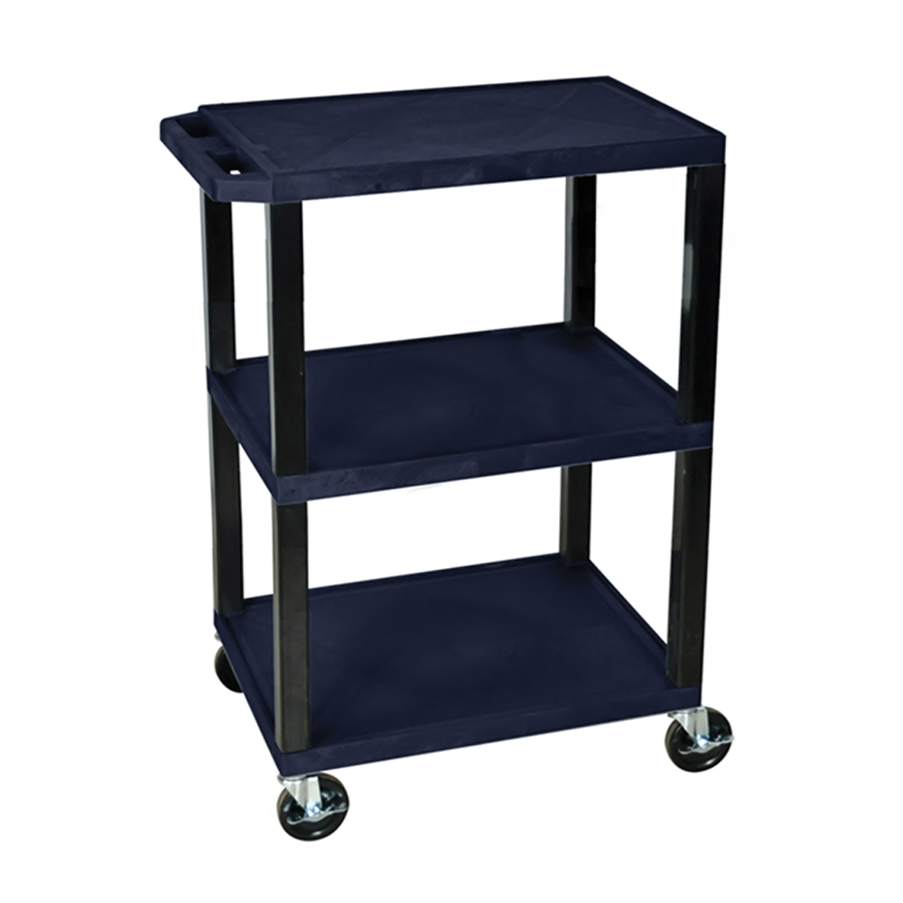 Offex Navy Blue 3 Shelf Specialty Utility Cart