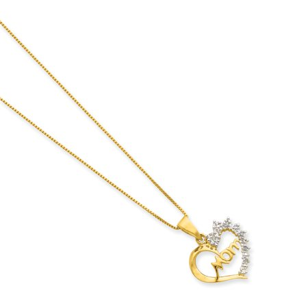 925 Sterling Silver Vermeil Diamond Mom Chain Necklace Pendant Charm Gifts For Women For Her