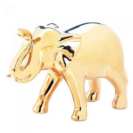 Gold Statue, Indoor Desk Decorative Figurines Home Decor Elephant Statue,  Large (Sold by Case, Pack of 6) ()