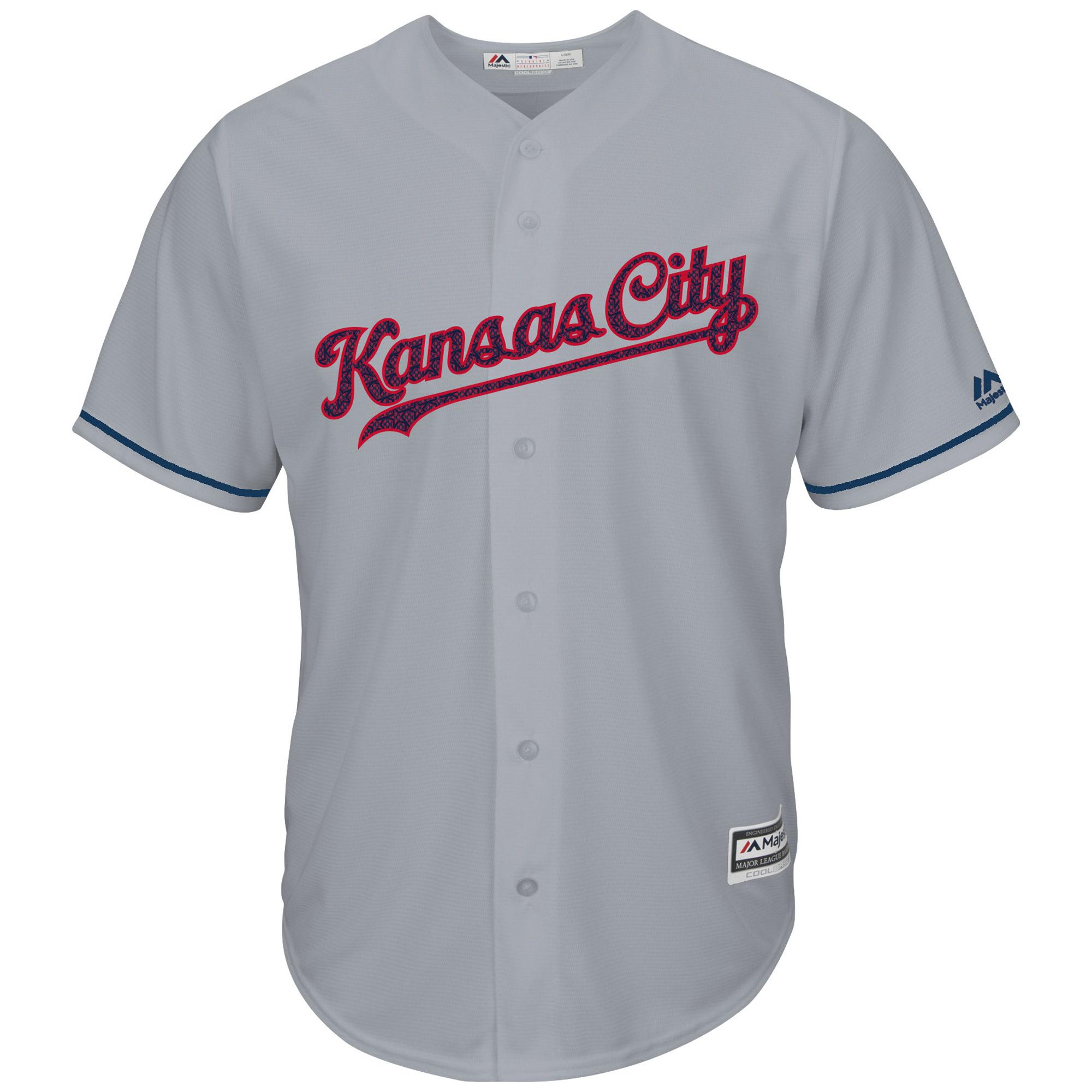 Kansas City Royals Majestic Fashion Stars & Stripes Cool Base Jersey - Gray